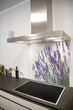 Lavender Sprigs Printed Glass Splashback from DIYSplashbacks.co.uk