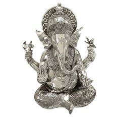 Silvertone Ganesh Polystone Decorative Statue - Overstock™ Shopping - Great Deals on Statues & Sculptures