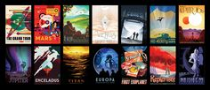 Fourteen space travel posters of colorful, exotic cosmic settings are now available free for downloading and printing
