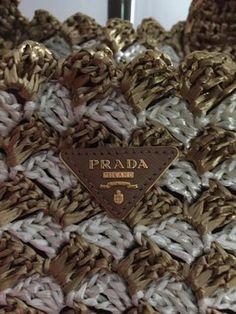 Prada Crocheted Raffia Large Tote in Tan & white