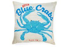 Crab 18x18 Outdoor Pillow, Blue on OneKingsLane.com