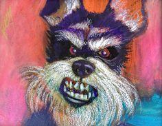"""Cute? I'll Give You Cute"" #Original #Schnauser painting #dog 8x10 by #Jeff #Leedy"