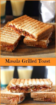 Masala grilled toast - ready in 5 minutes, vegetarian snack, breakfast, for kids lunch box, school tiffin recipe (Sandwich Recipes For School) Grilled Sandwich Recipe, Vegetarian Sandwich Recipes, Vegetarian Snacks, Lunch Box Recipes, Snack Recipes, Cooking Recipes, Healthy Lunches, Vegetarian Breakfast Recipes Indian, Grill Sandwich