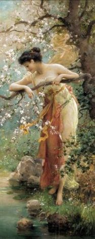 """The Blossom Tree"" by Hans Zatzka (1859–1945) Austria, by the 1920's this style was the choice for most European homes. By the turn of the century, Zatzkas' pictures turned to picture postcard sales in the galleries of Viennese artists, and ultimately sold to other publishers."