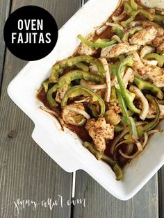 These oven baked chicken fajitas are one of my favorite chicken recipes.  Serve them traditionally with tortillas or make it a paleo recipe served in a lettuce wrap.