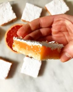 Grapefruit Bars | e2 bakes brooklyn Recipe Using Grapefruit, Grapefruit Recipes Dessert, Dessert Recipes, Grapefruit Ideas, Cookie Desserts, Just Desserts, Delicious Desserts, Health And Fitness, Fruit