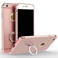 Wish | 3in1 Case for Iphone 5 5s SE 6 6s Plus Mobile Phone Case for Apple Back Cover Bags with Metal Ring Stand Gold