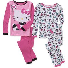 Hello Kitty Girls' 4 Piece Undergarment Thermal Set