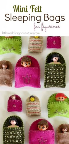 DIY Mini Felt Sleeping Bags for Figurines | These mini felt sleeping bags are great for small world play and make the perfect gift for toddlers and preschoolers. | Little Worlds Big Adventures