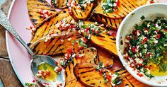 The smoked garlic in this beautiful griddled sweet potatoes dish intensifies the flavour. Taken from Shelina Permalloo's The Sunshine Diet book, it is perfect hot, warm or cold as a salad.
