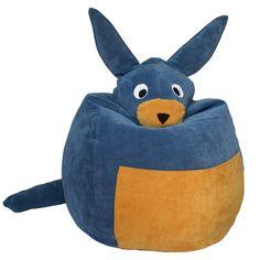 Blue Kangaroo bean bag.