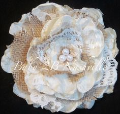 Wedding Hairpiece Burlap Lace Rose Hair by Baby2BNashville on Etsy, $30.00