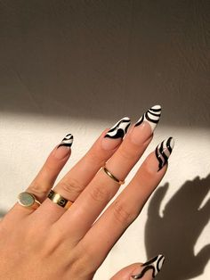╘➳via coconutcappuccino Aycrlic Nails, Swag Nails, Manicure, Zebra Nails, Simple Acrylic Nails, Best Acrylic Nails, Funky Nails, Funky Nail Art, Edgy Nails