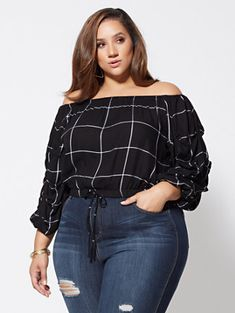 Veronika Off-Shoulder Grid Top - Fashion To Figure Thick Girl Fashion, Plus Size Fashion For Women, Curvy Women Fashion, Evening Dresses Plus Size, Plus Size Dresses, Plus Size Outfits, Curvy Women Outfits, Clothes For Women, Cute Date Outfits