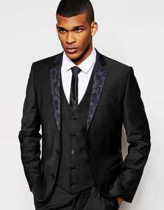Image 1 of River Island Slim Fit Suit Blazer with Floral Lapel