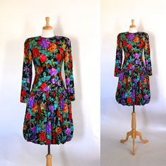 80s Silk Floral Bubble Dress by DuncanLovesTess on Etsy