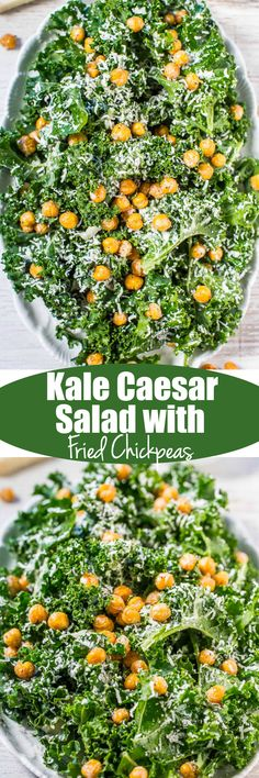 Kale Caesar Salad with Fried Chickpeas - A fresh spin on Caesar salad with an easy, whisk-together dressing loaded with bold flavor!! You won't miss croutons when you've got crispy, crunchy fried chickpeas that are insanely good!!