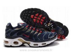 3b255ef194e2a Chaussures de Nike Air Max Tn Requin Homme Bleu foncé Rouge et Or Chaussures  Tn Nike