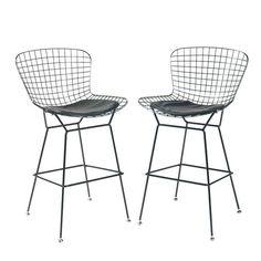 Bertoia Style Bar Stools in Black - $370 Est. Retail - $195 on Chairish.com