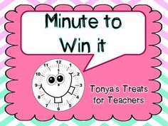 Tonya's Treats for Teachers: Monday Made it with Minute to Win it...(picture overload)