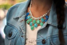 statement necklace in blue and mint