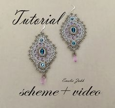 Earrings crochet tutorial( scheme  + video).Earrings crochet lace.Chandelier earrings pattern.Wedding earrings silver thread.Earrings long. by emeliebeads. Explore more products on http://emeliebeads.etsy.com