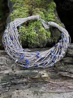 Linen necklace with sodalite Textile Jewelry, Jewellery, Beading, Necklaces, Jewels, Beads, Schmuck, Pearls, Jewelry Shop