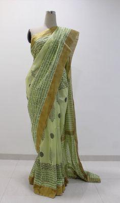 Green hand block printed chanderi saree