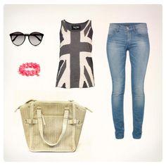 Relajada y súper comfy en jeans y un bolso oversized