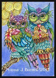 """Owls"" par Norma Burnell"