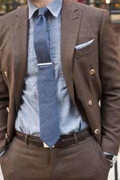 Liking the textures and colors. Like the chambry combined with the double breasted...casual and more dressy.