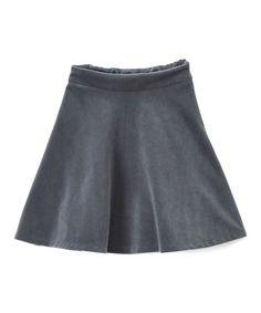 Gray Velvet Flair Skirt - Girls