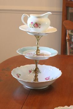 4 Tier Vintage Jewelry Stand by SamMorrisDesigns on Etsy, $40.00