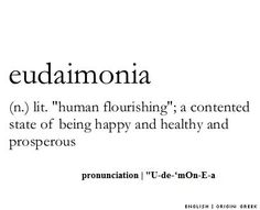 'human flourishing'; a contented state of being happy and healthy and prosperous. Adj. Euphoric: Well being Very happy.  Words to live by(: