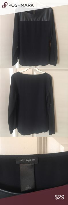 Ann Taylor Black Blouse with Leather Detail NWOT NWOT. Ann Taylor Black Blouse with Leather Detail. Size Small. Ann Taylor Tops Blouses