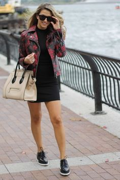 Love her casual chic street style!  That leather jacket! Women's fall fashion clothing outfit for going out, dates, movies