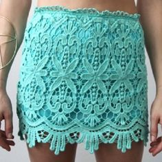 Gorgeous mint lace skirt, size small Gorgeous, crochet/lace patterned skirt. Mint green and size x-small or small. Jacket is for sale too! Skirts