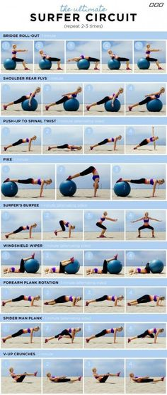 """The 3 Week Diet Weightloss - """"HOW TO GET A SURFER'S BODY!"""" You do not need to surf to get the results from this fun workout circuit. Created by Celebrity Trainer – Monica Nelson.monicanelsonf… The 3 Week Diet Weightloss - Fitness Workouts, Fun Workouts, Yoga Fitness, Fitness Tips, Health Fitness, Ball Workouts, Health Club, Shape Fitness, Men Health"""