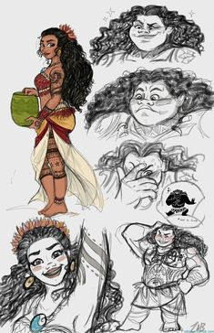 Note: I didn't draw this, click the link <3. Older Moana and Maui