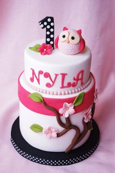 Pink Blossom Owl Cake by Sugarbelle Cakes