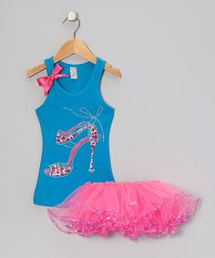 Take a look at this Bubblegum Diva Blue Leopard Heel Tank & Hot Pink Tutu - Toddler & Girls on zulily today!
