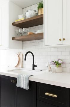 Love the styling of this pretty kitchen sink! // Studio McGee Love the styling of this pretty kitchen sink! Shelves Over Kitchen Sink, Kitchen Sink Decor, Black Kitchen Faucets, Refacing Kitchen Cabinets, Upper Cabinets, Kitchen Countertops, Kitchen Ideas, Bathroom Faucets, Sinks