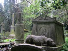 Discover Highgate Cemetery in London, England: London's creepiest cemetery was once the site of dueling magicians and mobs of stake-carrying vampire hunters. Highgate Cemetery London, Old Cemeteries, Graveyards, Road Trip Europe, Dragon's Lair, Vampire Hunter, Greater London, Whistler, Stone Carving