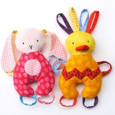 Baby Teether Toy Tag Toy Chick and Bunny Stuffed by SweaterDoll