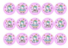 Edible cupcake toppers with cute Doughnut Unicorns in a rainbow kawaii design - rice paper or icing. Perfect cake decoration for a girls birthday party with a unicorn theme. All products are 100% edible and easy to use. Suitable for use as cocktail toppers and ice cream decs. Next day delivery available - buy now!