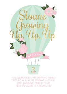 This darling floral hot air balloon invitation is going to make you and all your party guests swoon. Look up to the skies, purchase this lovely invitation, and let this hot air balloon theme sweep you away to the clouds! This is a 5x7 DIGITAL invitation in which you print yourself at your preferred printing company (I do not offer printing services) or can be emailed to your guests. Nothing tangible will be mailed to you. This invitation is made to order. Different ages & colors can be d...