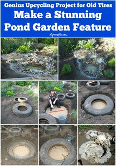Genius Upcycling Project for Old Tires: Make a Stunning Pond Garden Feature Outdoor Projects, Diy Garden Projects, Garden Ideas, Garden Ponds, Tire Garden, Ponds Backyard, Water Garden, Garden Landscaping, Garden Path