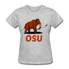 (front) Mammoth OSU Women's Heather Grey T-Shirt - This design commemorates discovered Mammoth remains during construction at Oregon State University's Reser Stadium
