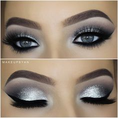 eye make-up tutorial; eye make-up for brown eyes; eye make-up pure; Smoke Eye Makeup, Blue Eye Makeup, Eyeshadow Makeup, Silver Glitter Eye Makeup, Metallic Eyeshadow, Silver Eyeshadow Looks, Makeup Brushes, Black And Silver Eye Makeup, Prom Eye Makeup