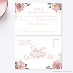 Vintage Floral Enviroboard Invitation - Classic Wedding Invitations